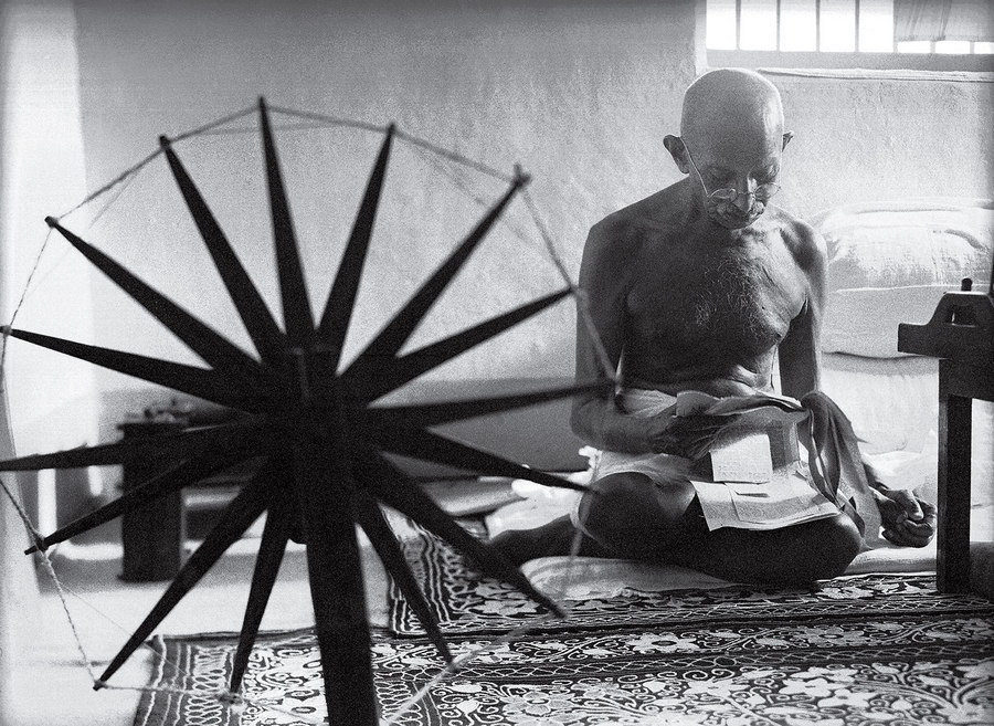Gandhi and the Spinning Wheel Margaret Bourke White 1946