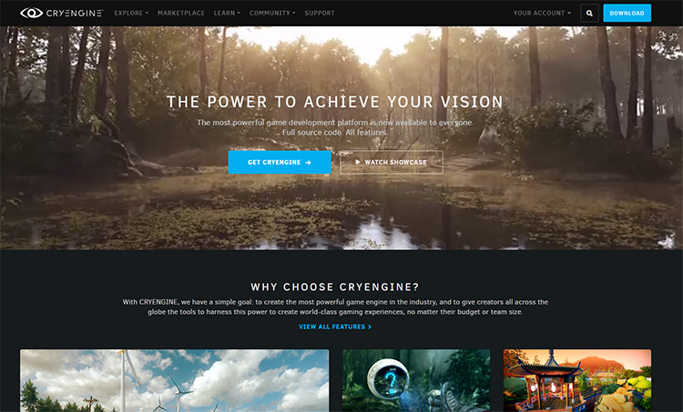 CryEngine homepage