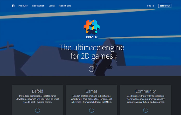 Defold engine homepage