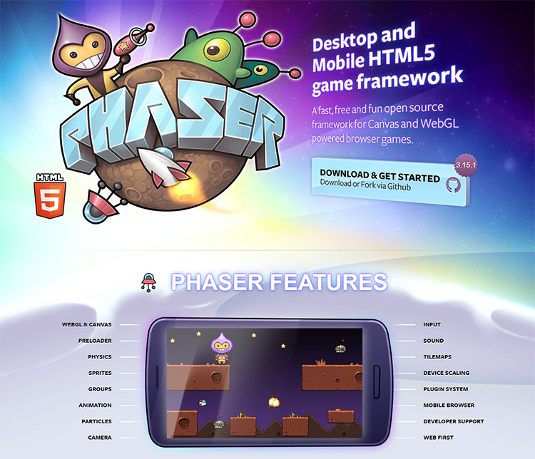 Phaser homepage