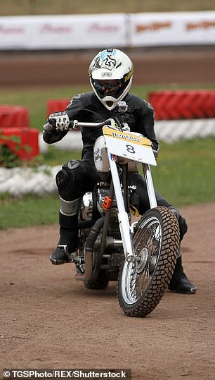 Guy Martin on his Harley chopper during DirtQuake at the Arena Essex Raceway on August 18, 2018