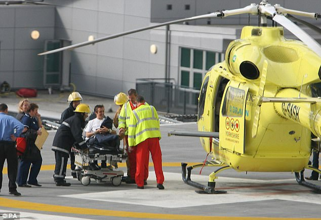 Hospitalised: He was eventually allowed to leave Leeds Infirmary and was airlifted from the hospital, pictured