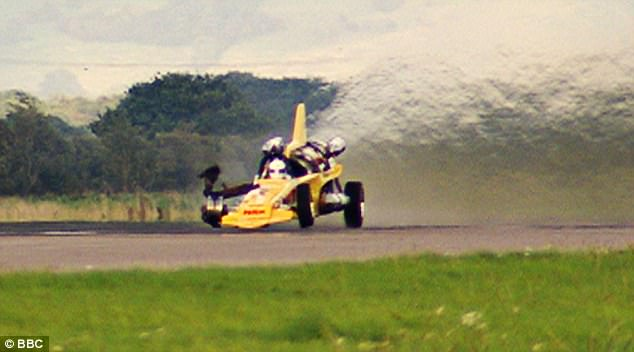 Danger: Hammond was driving a jet-powered Vampire dragster in 2006, pictured, when the front-right tyre burst leading the vehicle to spin out of control