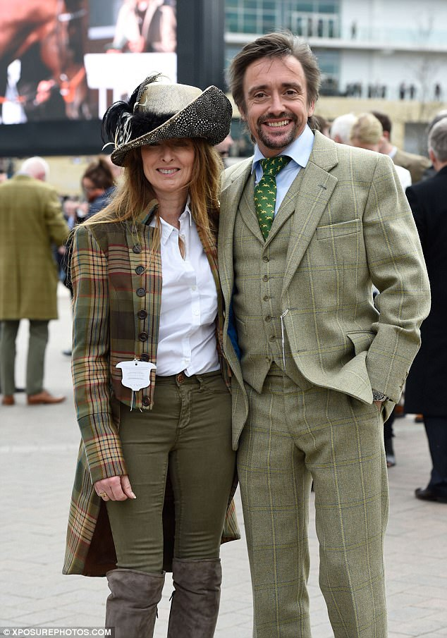 Recovery: Hammond with his partner Amanda Etheridge at Cheltenham, after his Mozambique crash