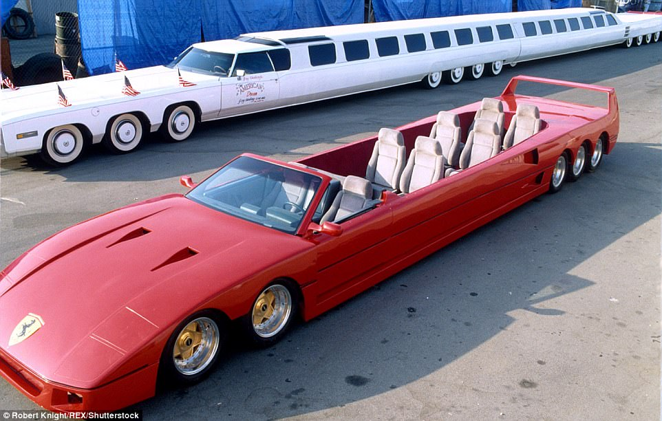 The American Dream (seen at the back) is the creation of car collector and designer Jay Ohrberg. The white supercar, adorned with patriotic flags, is tipped to be the world's longest limo, stretching for 100ft, and has 26 wheels