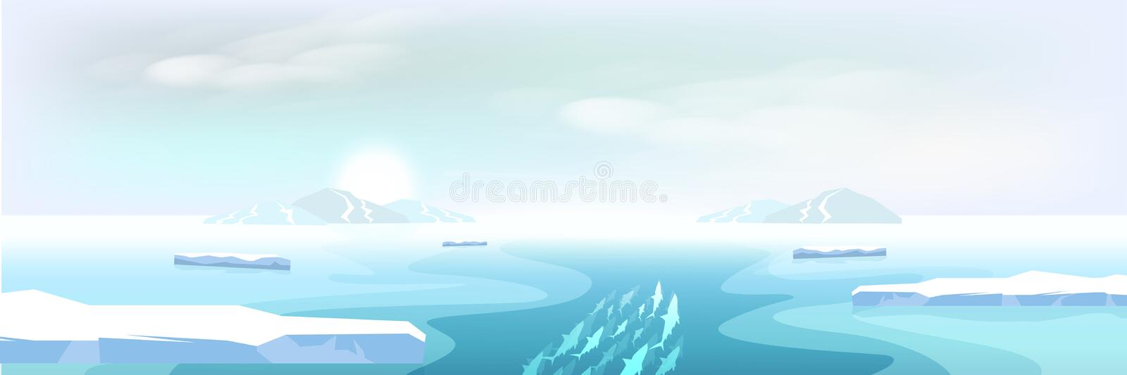 Arctic landscape ice melting and ice mountains, winter to summer stock illustration
