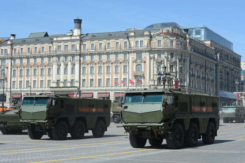 Armored car universal high security the Mine Resistant Ambush Protected (MRAP) KAMAZ-63968 Typhoon. MOSCOW, RUSSIA - MAY 07, 2015: Rehearsal of parade in honor stock photo