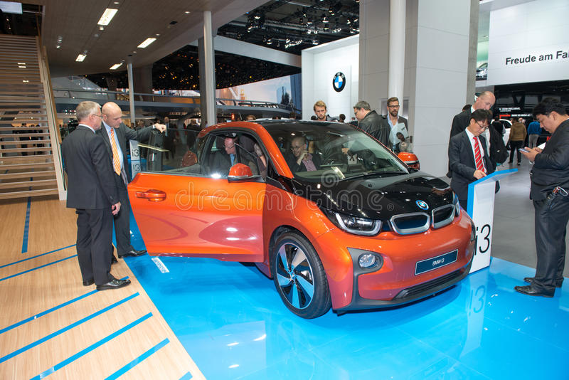 BMW i3 is the world's first premium all-electric car - world premiere. Frankfurt international motor show (IAA) 2013. BMW i3 is the world's first premium all stock images