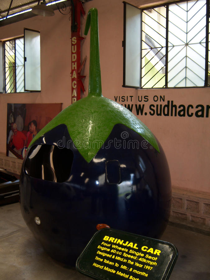 Brinjal car at Sudha Cars Museum, Hyderabad. Sudha Cars Museum is the first and only handmade Wacky Car museum in the World. It is the brainchild of Mr. K stock photos