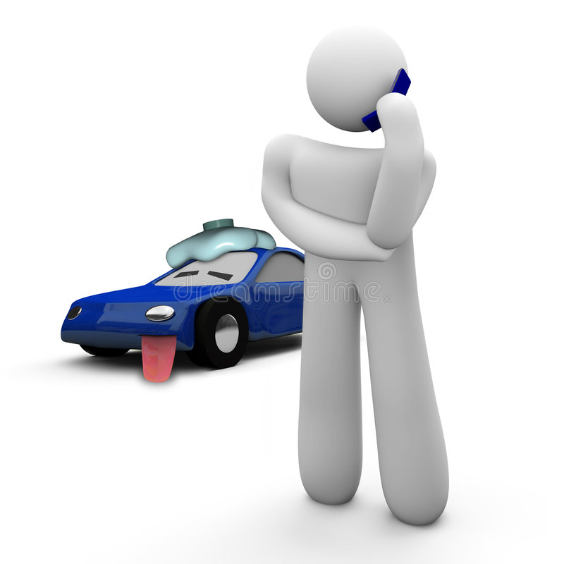 Broken Down Car - Call for Help. A person calls for help on his broken down car vector illustration