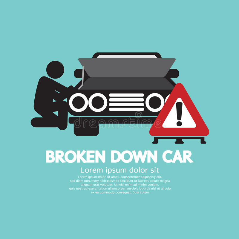 Broken Down Car Symbol. Vector Illustration stock illustration