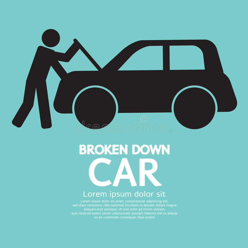 Broken Down Car. Vector Illustration vector illustration