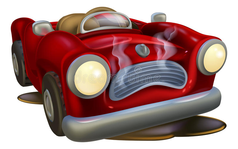 Broken down cartoon car. An illustration of a cute broken down cartoon car royalty free illustration