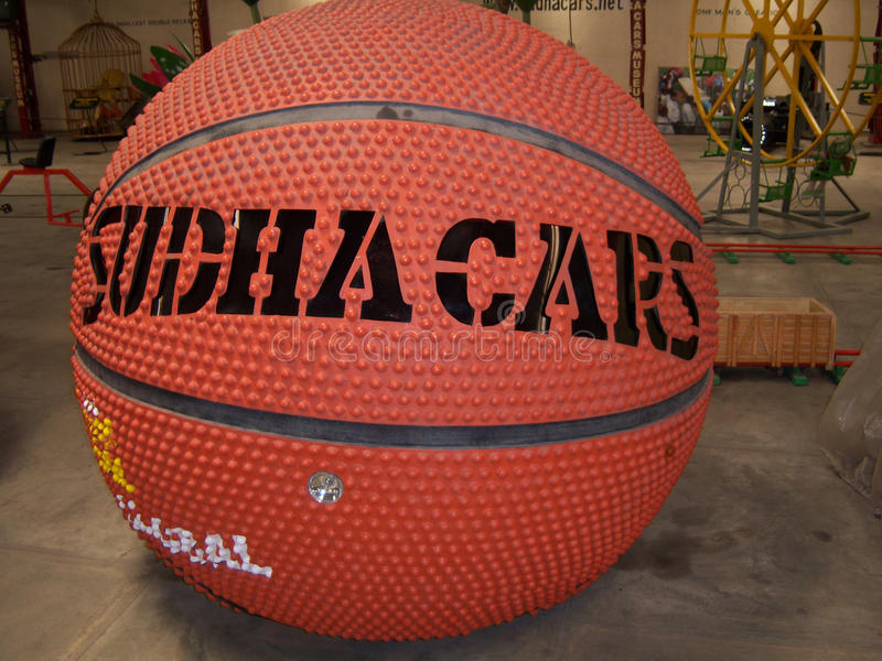 Basket ball car at Sudha Cars Museum, Hyderabad. Sudha Cars Museum is the first and only handmade Wacky Car museum in the World. It is the brainchild of Mr. K stock photos