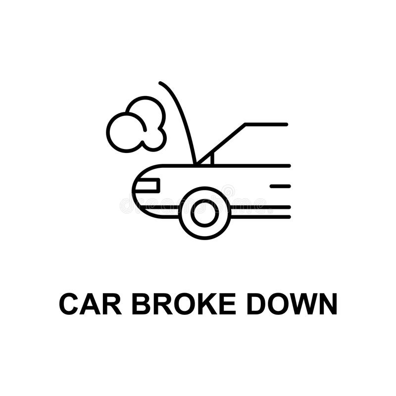 Car broken down icon. Element of car repair for mobile concept and web apps. Detailed icon can be used for web and mobile. Premiu. M icon on white background stock illustration