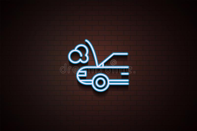Car broken down icon in Neon style on brick wall. On dark brick wall background royalty free illustration