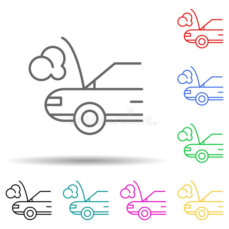 Car broken down multi color style icon. Simple thin line, outline vector of cars service and repair parts icons for ui and ux,. Website or mobile application on royalty free illustration