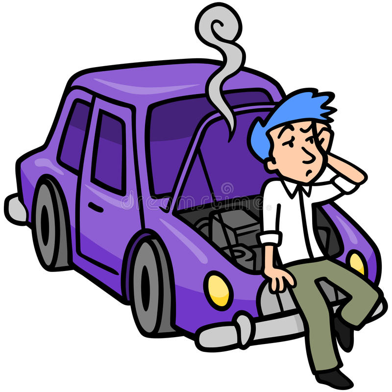Car Trouble. Frustrated man leaning against his broken down car, after looking under the hood stock illustration