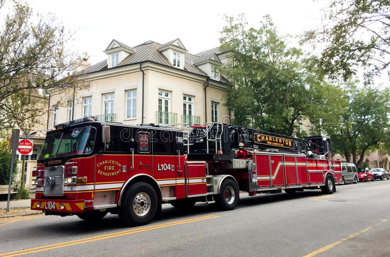 Charleston, SC Ladder Truck stock photo