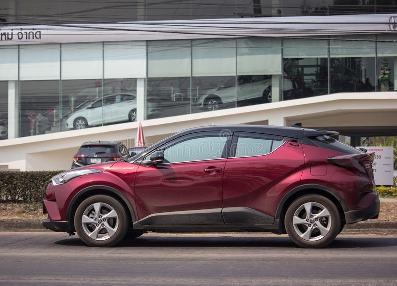 Toyota CHR Subcompact Crossover SUV Hybrid Car. Chiangmai, Thailand - February 26 2019: New Toyota CHR Subcompact Crossover SUV Hybrid Car. Car on road No.121 to royalty free stock images