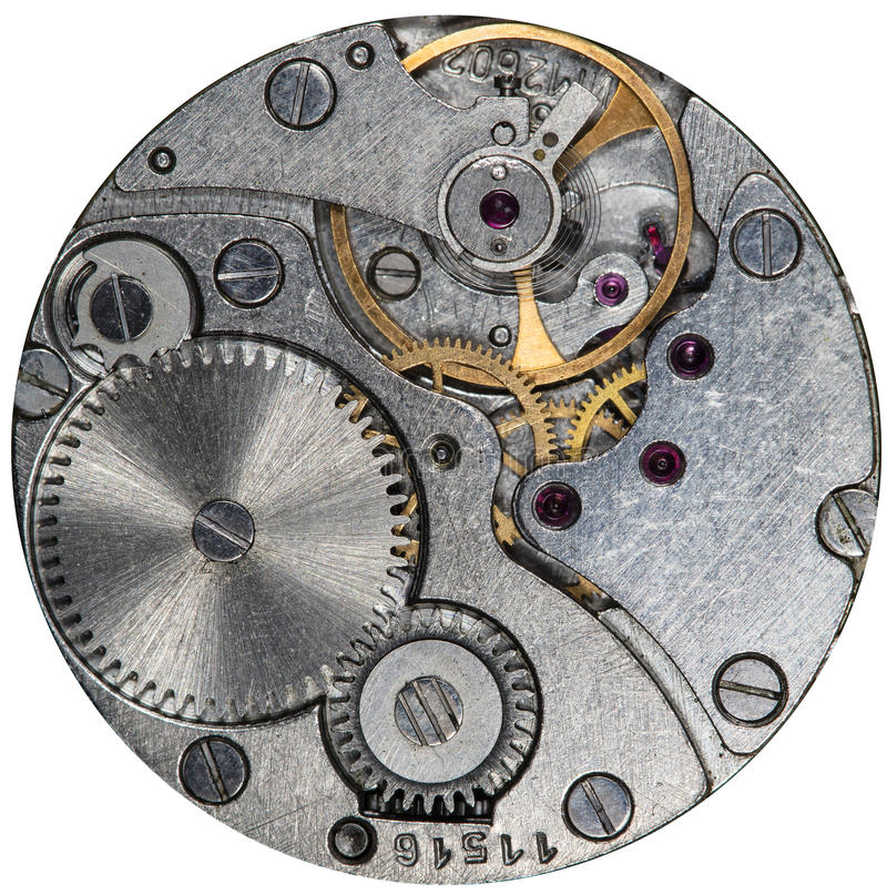 Clockwork old USSR watch, alarm clock. Clockwork old USSR watch, detailed macro photo royalty free stock photography