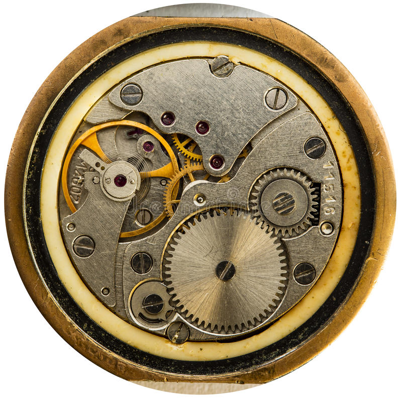 Clockwork old USSR watch, alarm clock. Clockwork old USSR watch, detailed macro photo royalty free stock photo