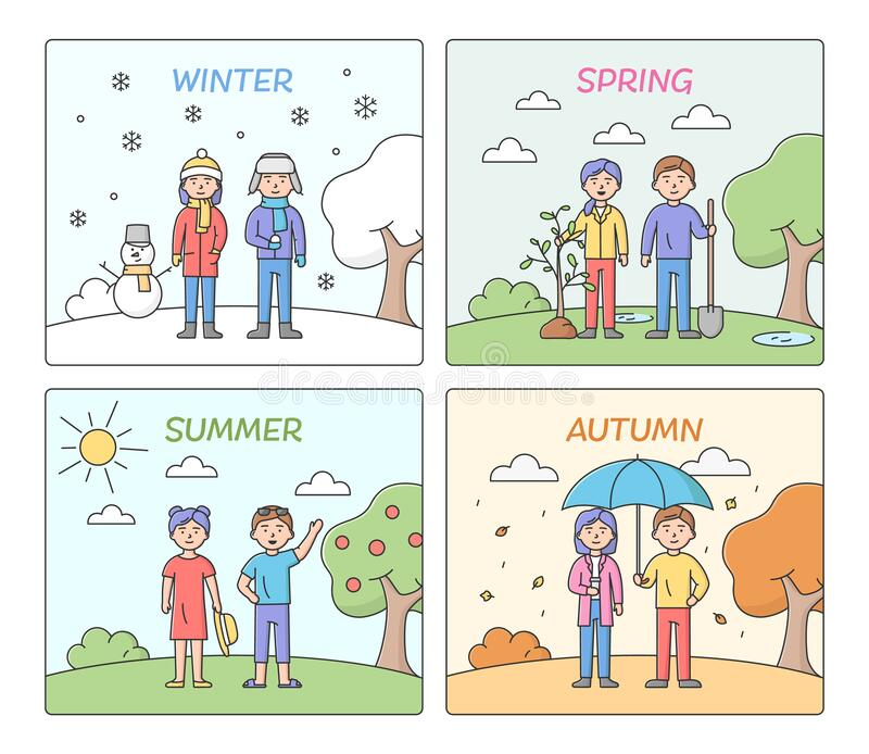 Concept Of Seasons. People Leisure And Clothes According To Time Of The Year. Summer, Autumn, Winter And Spring With royalty free illustration