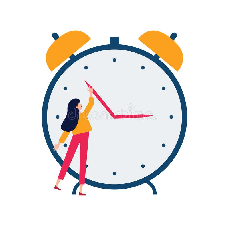 Daylight saving time concept. Young woman turn the hand of the clock. Turning to winter or summer time, alarm clock royalty free illustration