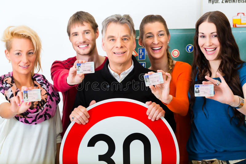 Driving instructor with his class royalty free stock photography