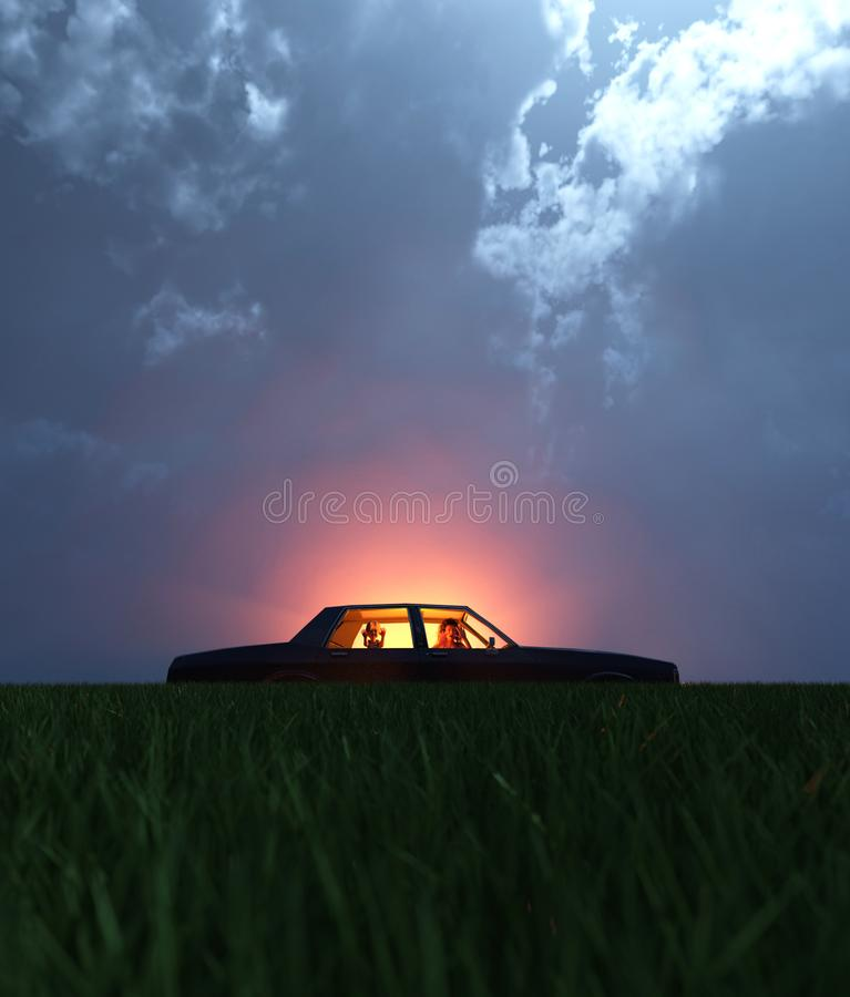 A family with a car broken down on a secluded field. At night with a light glowing from the sky,scene for scary or horror concept and ideas,3d rendering royalty free illustration