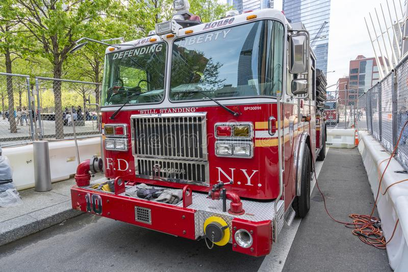 FDNY ladder 10 fire truck outside September 11 Memorial and Museum royalty free stock photos