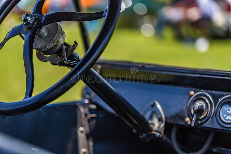 1923 Ford Model T Touring Car. Shallow depth of field closeup of the steering wheel mechanism on a 1923 Ford Model T Touring Car stock photos