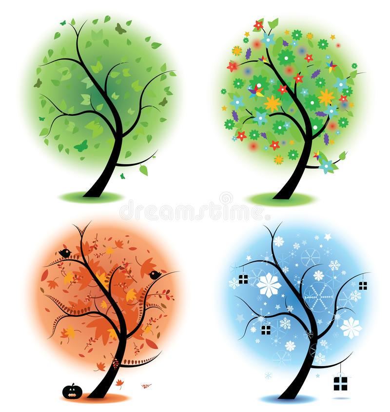 Four seasons - spring, summer, autumn, winter Art royalty free illustration