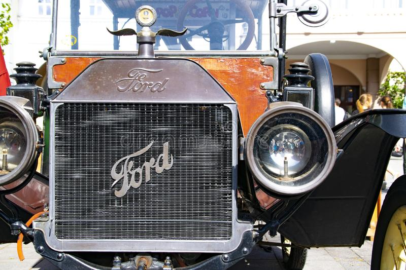 Front view of an old Ford Car. Front view of a classic, vintage automobile old ford car royalty free stock photos