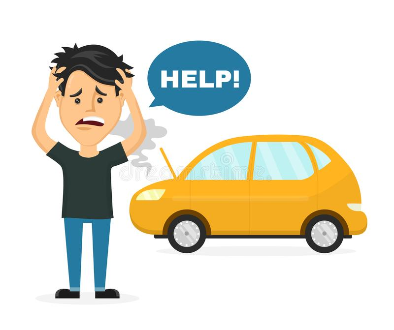 Frustrated sad young man near a broken car. Hold hands behind his head. Vector flat style cartoon character illustration. Isolated on white background. Auto vector illustration