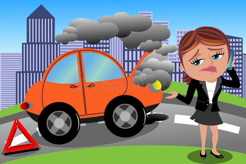 Frustrated Woman Broken Car. Illustration featuring Meg next to broken car speaking on mobile for help. Eps file is available. You can find other illustrations stock illustration