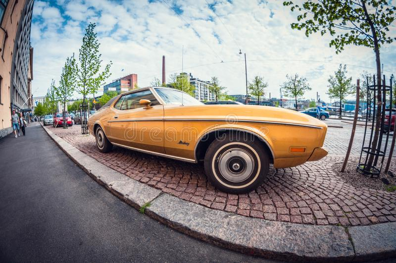 Helsinki, Finland - May 16, 2016: Old car Ford Mustang. distortion perspective fisheye lens. View royalty free stock photos