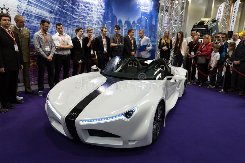Hydrocar Premiera - the first Polish hydrogen-car. 3rd edition of MOTO SHOW in Krakow. Poland. The world debut Hydrocar Premiera - the first Polish hydrogen-car royalty free stock photo