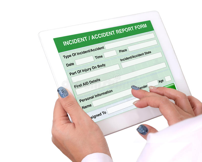 Incident or accident report form on tablet computer. royalty free stock photo