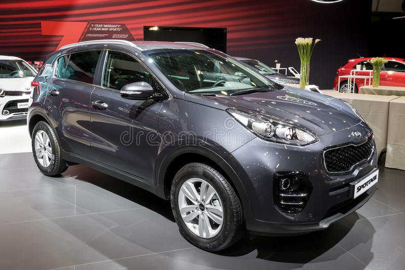 Kia Sportage crossover SUV car. BRUSSELS - JAN 10, 2018: Kia Sportage crossover SUV car shown at the Brussels Motor Show royalty free stock photo