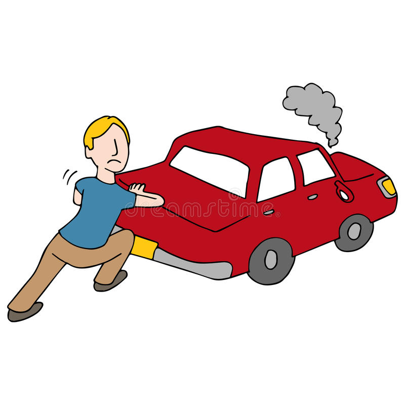 Man Pushing Broken Down Car. An image of a Man Pushing Broken Down Car royalty free illustration
