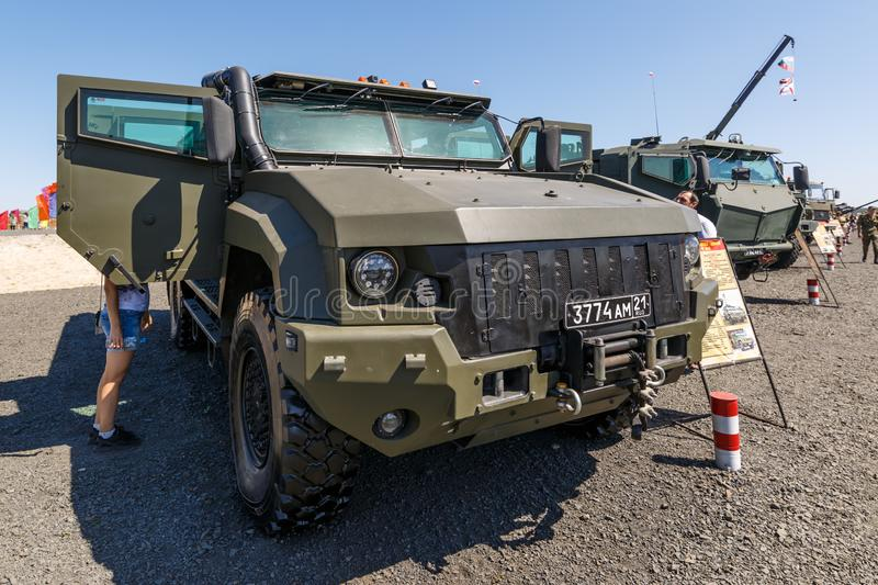 Mine-protected armoured vehicle Kamaz-53949 Typhoon-K 4x4. KADAMOVSKIY TRAINING GROUND, ROSTOV REGION, RUSSIA, AUGUST 26, 2018: International military technical royalty free stock images