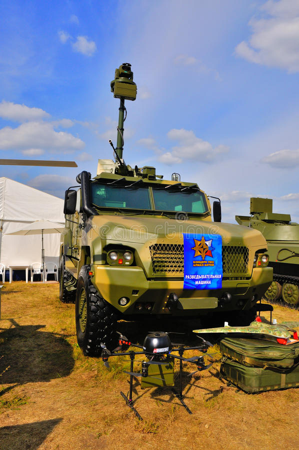 MOSCOW, RUSSIA - AUG 2015: Reconnaissance vehicle KAMAZ-53949 pr. Esented at the 12th MAKS-2015 International Aviation and Space Show on August 28, 2015 in stock images