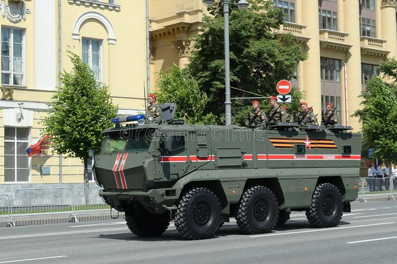 Armored truck of the military police KAMAZ-63968 `Typhoon-K` for transporting personnel during the parade dedicated to the 75th an. MOSCOW, RUSSIA - JUNE 24 royalty free stock photography