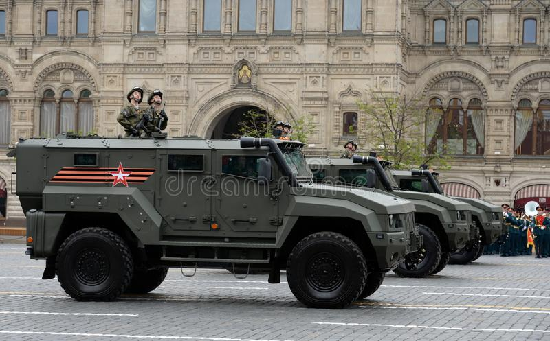 Armored car `Typhoon K` on the basis of KamAZ - 53949 during the rehearsal of the parade on Red Square in honor of the Victory Day. MOSCOW, RUSSIA MAY 6, 2018 stock images