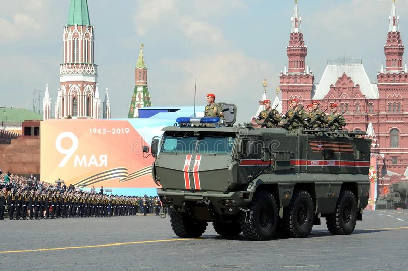 Armored truck military police KAMAZ-63968 `Typhoon-K` for transportation of personnel at the dress rehearsal of the parade on red. MOSCOW, RUSSIA - MAY 7, 2019 royalty free stock photos