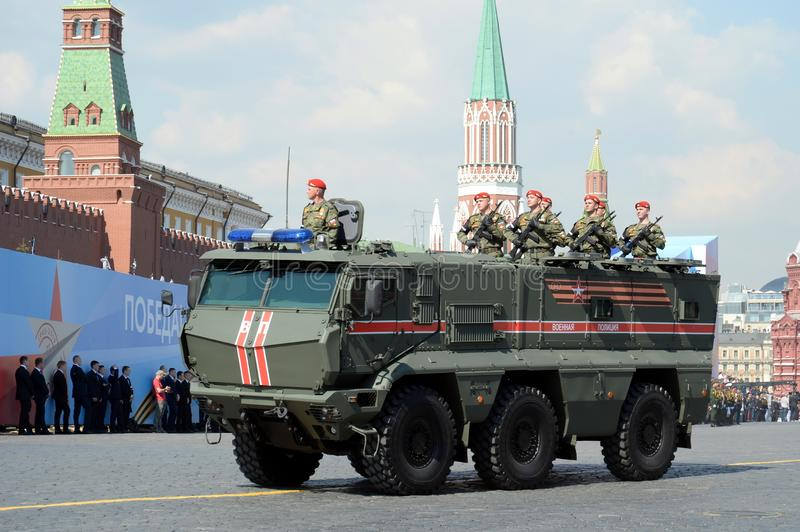 Armored truck military police KAMAZ-63968 `Typhoon-K` for transportation of personnel at the dress rehearsal of the parade on red. MOSCOW, RUSSIA - MAY 7, 2019 royalty free stock photography