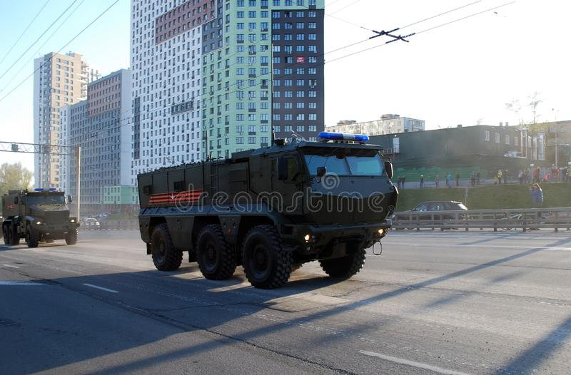 The Russian multiple-purpose armored car of the increased security of `Tayfun-K`, it is KAMAZ-63968. Moscow. Russia. May 3, 2017. Rehearsal to Victory Day royalty free stock photography
