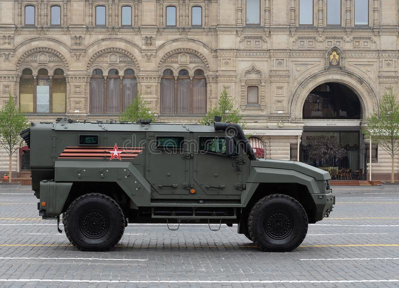 Typhoon-K multi-purpose armored car based on KAMAZ - 53949 during the parade on red square in honor of the victory Day in Moscow. MOSCOW, RUSSIA - MAY 9, 2019 stock photo