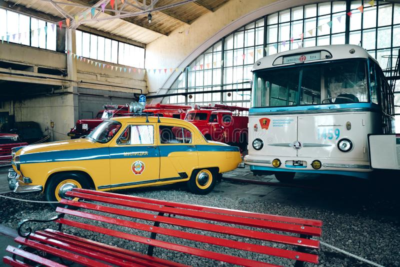 Retro auto collection, exhibition from Museum of Moscow Transport. Moscow, Russia - September 14, 2018 - Retro auto collection, exhibition from Museum of Moscow stock photos